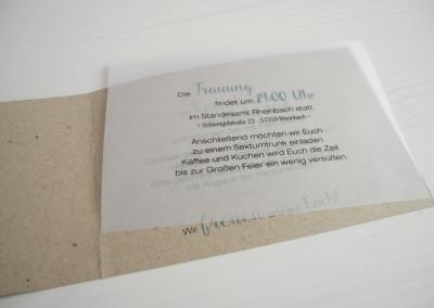 Hochzeitseinladung mit transparentem Einleger