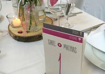 Tischnummern + Speise- und Getränkekarte